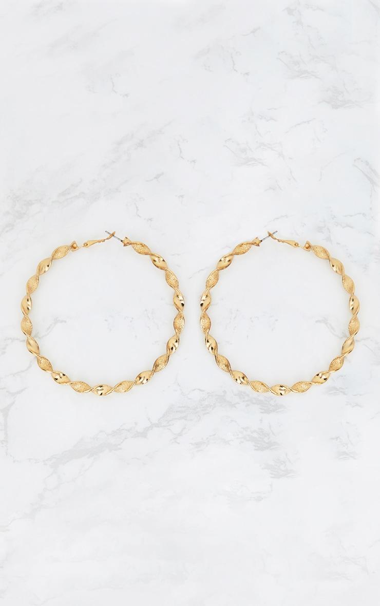 Gold Oversized Twisted Hoop Earrings 3