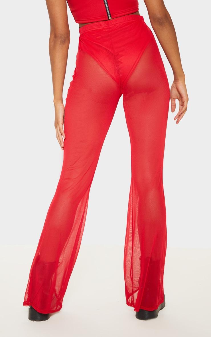 Pantalon en mesh rouge à jambes évasées 4