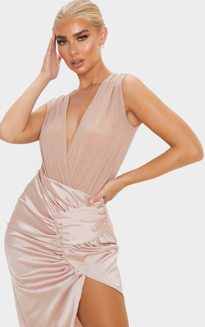 Nude Textured Glitter Deep Plunge Bodysuit