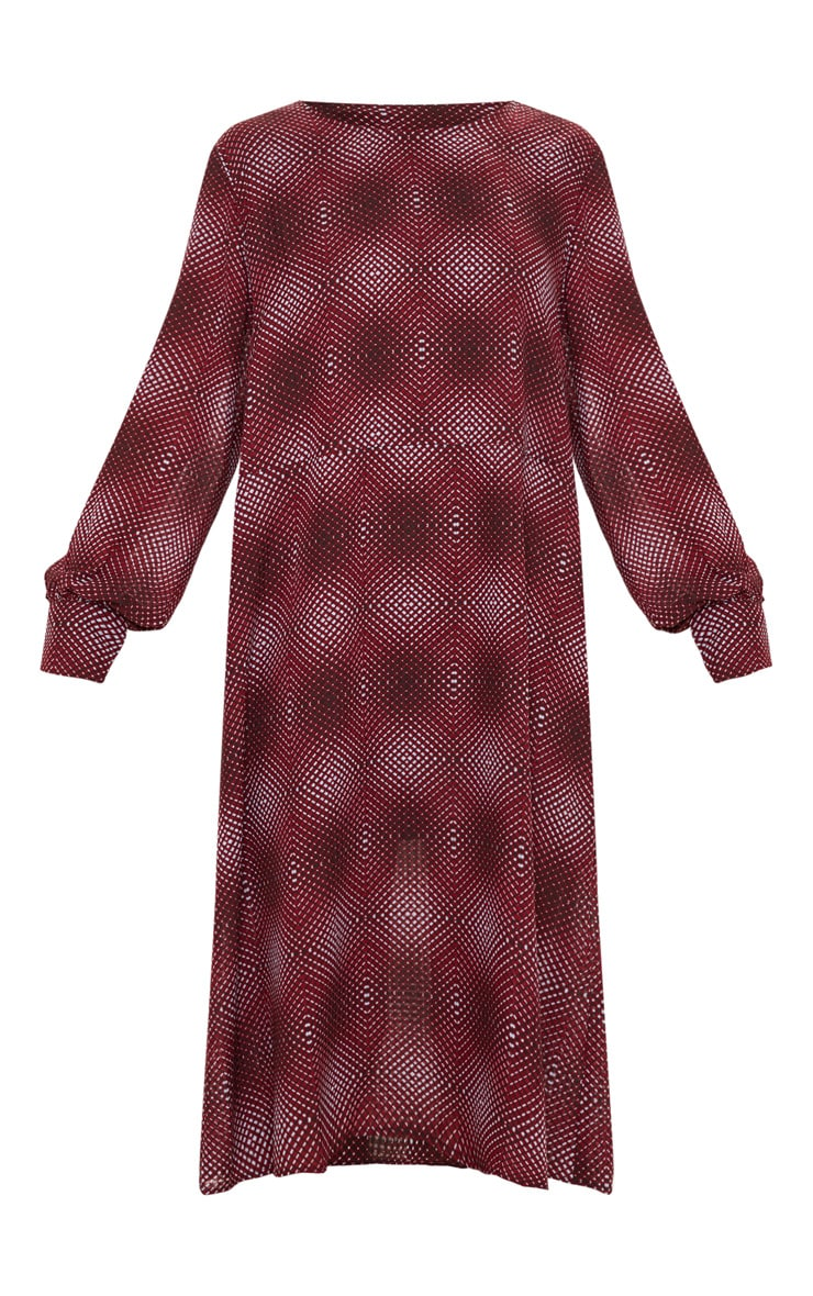 Burgundy Geometric Printed Midi Shift Dress 3