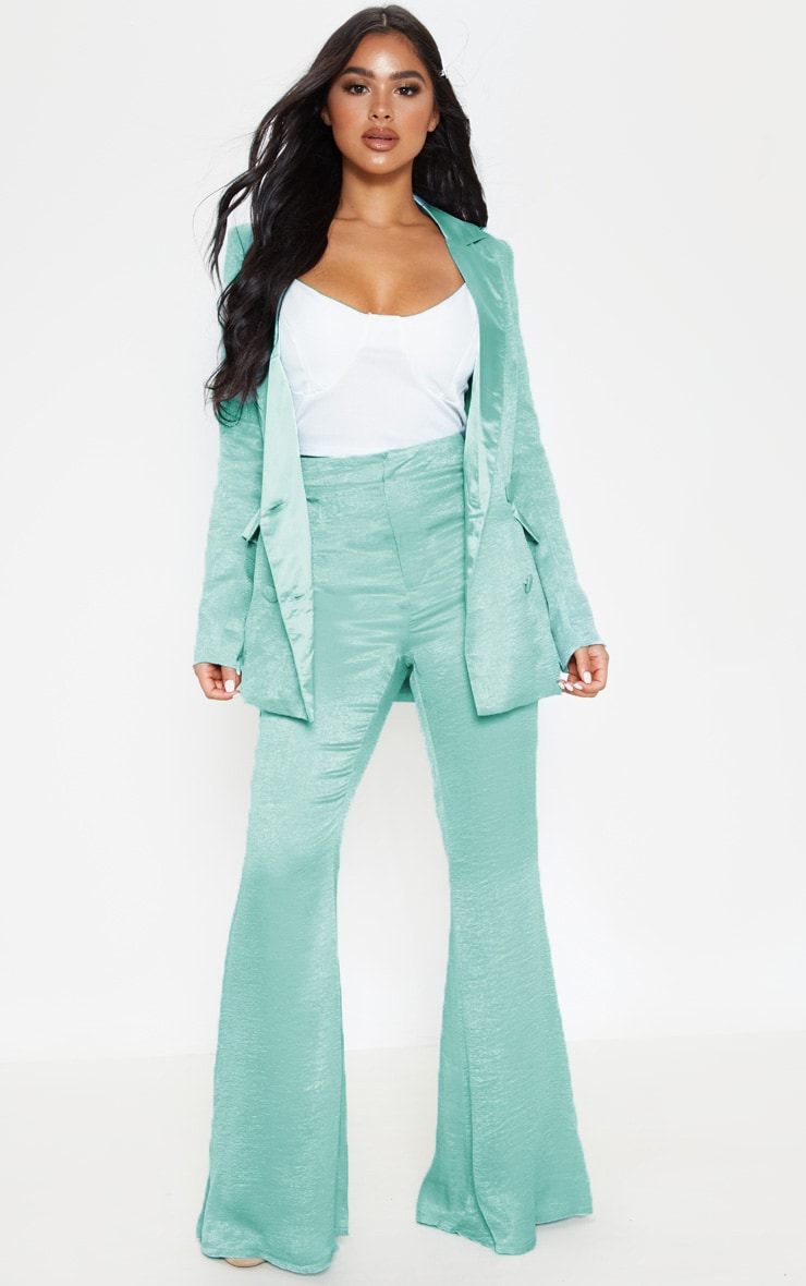 Petite Mint Tailored Extreme Flared Pants 1