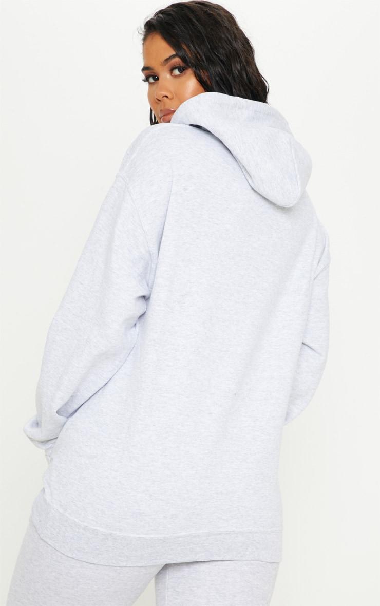 PRETTYLITTLETHING Grey Embroidered Oversized Hoodie 2