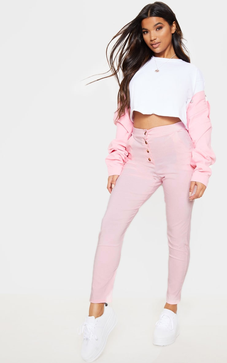 Pastel Pink Button Front High Waisted Skinny Trouser 1
