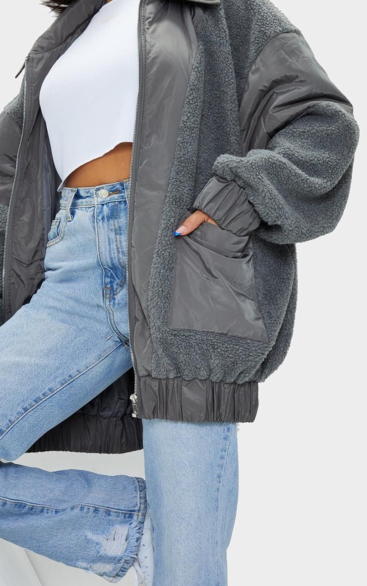 Grey Borg Contrast Pocket Front Coat 4