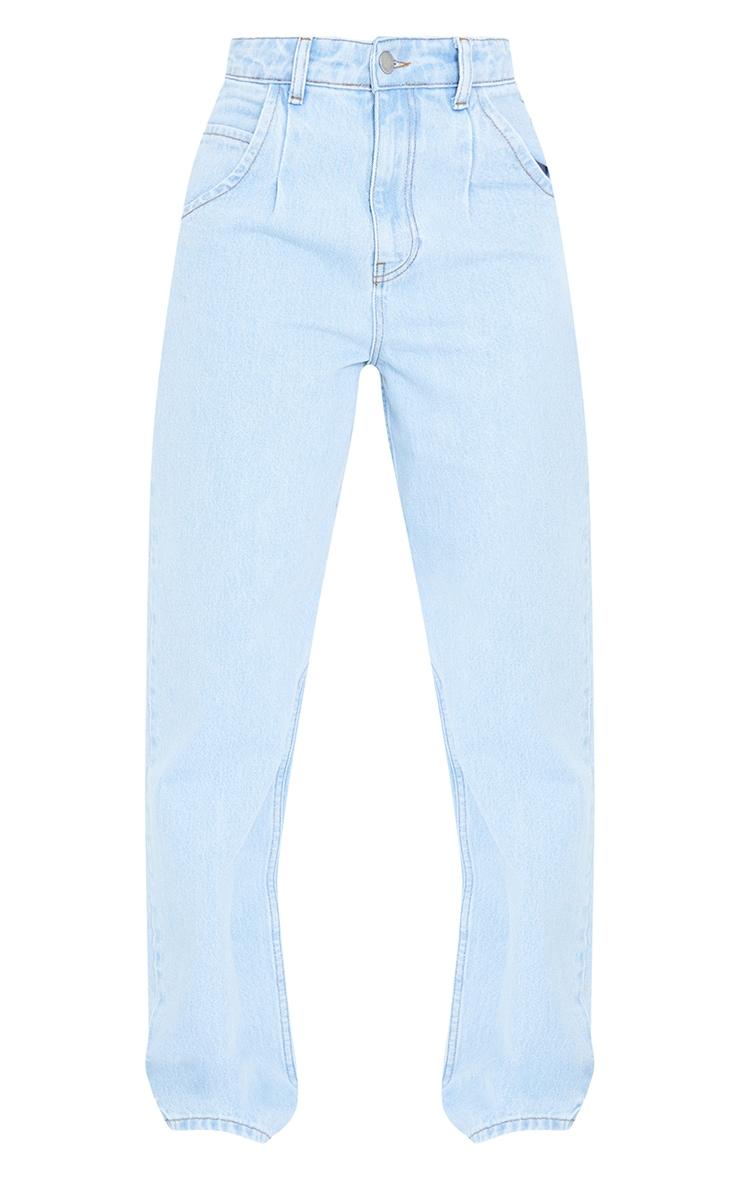 Tall Light Wash Seam Detail Wide Leg Jeans 5