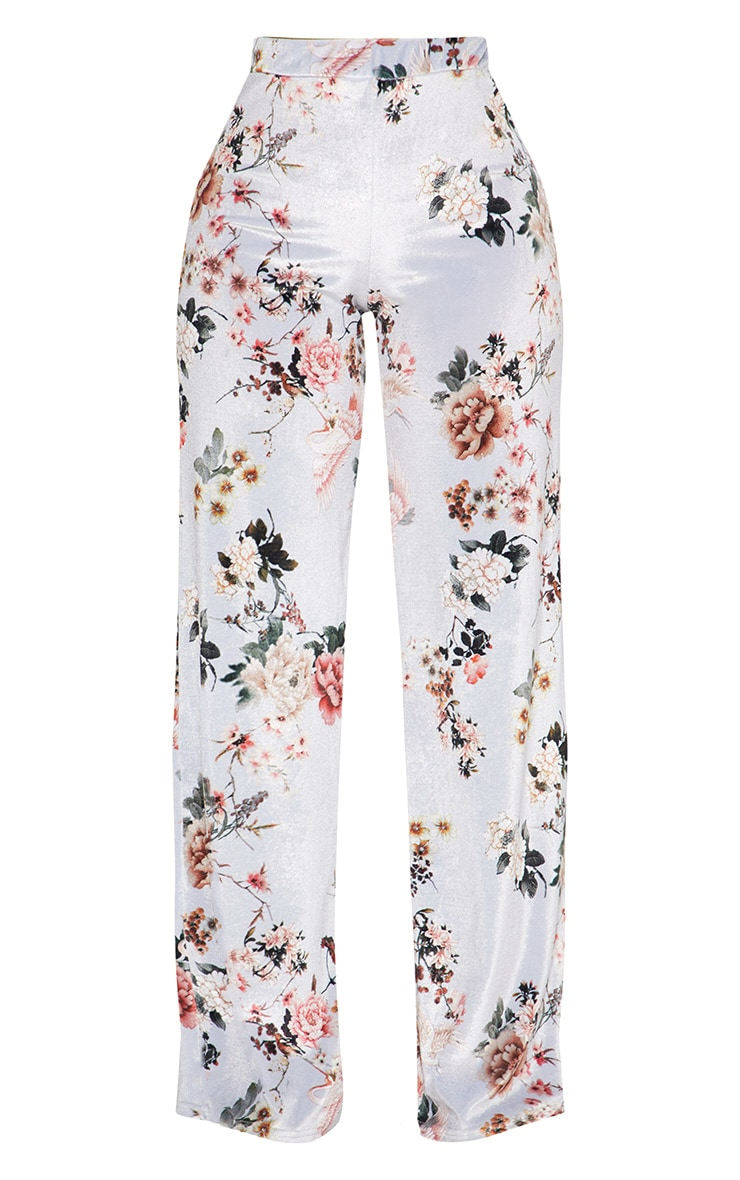 Shape Grey Velvet Floral Wide Leg Trousers 3