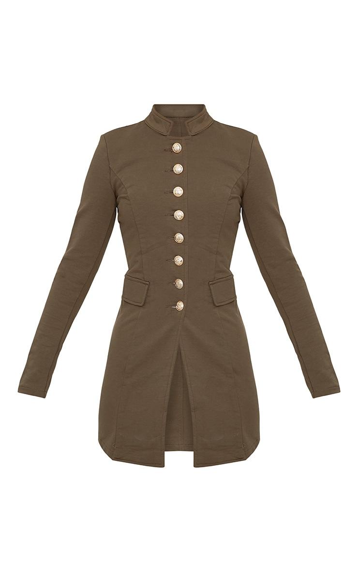 Deleana Khaki Longline Military Style Jacket 3