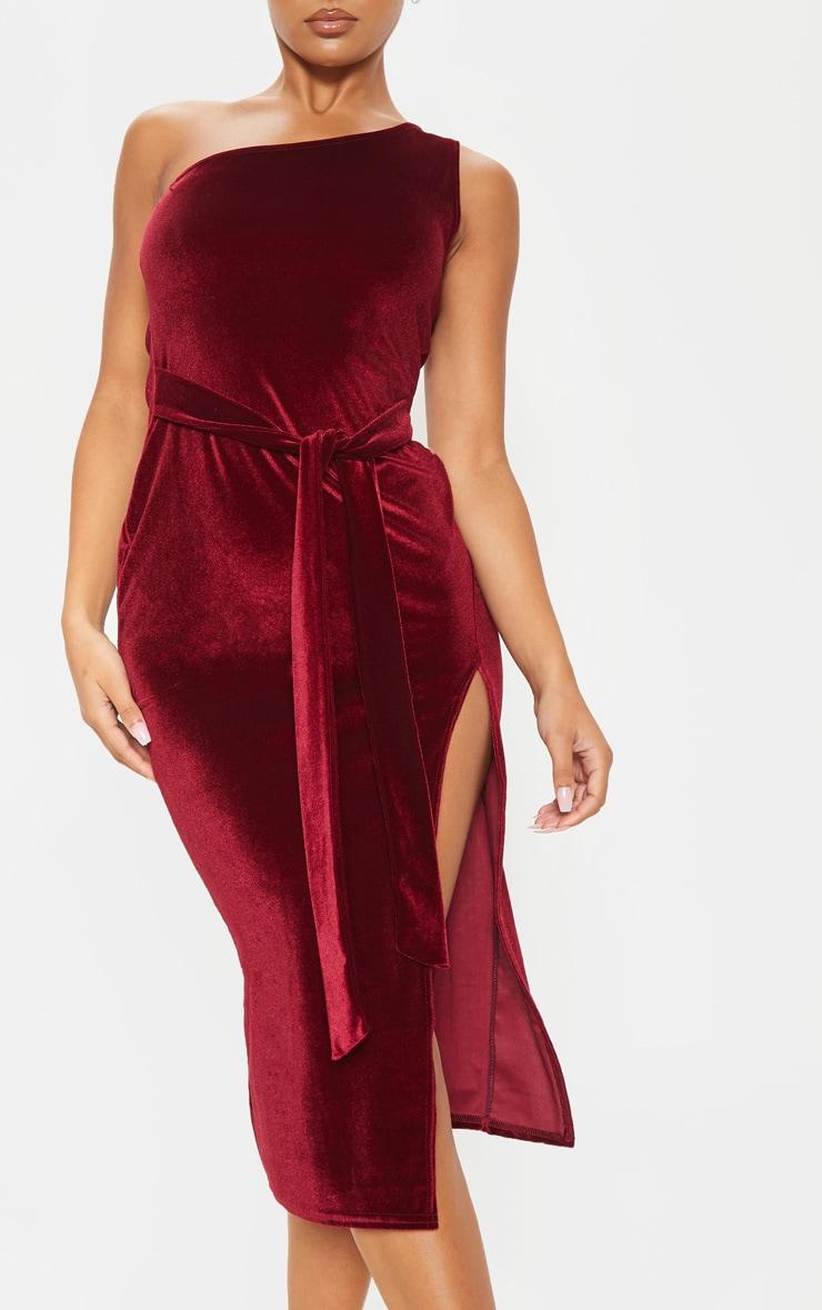 Burgundy Velvet One Shoulder Tie Waist Midi Dress 5
