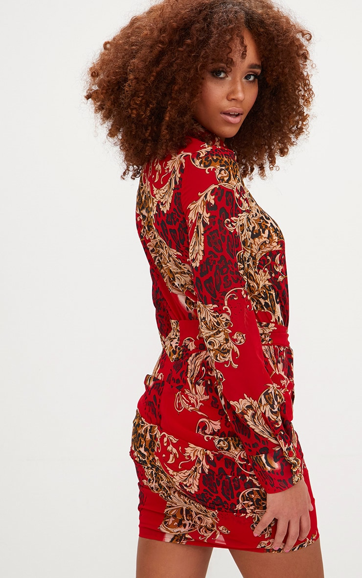 Red Baroque Print Ruched Front Shirt Dress 2
