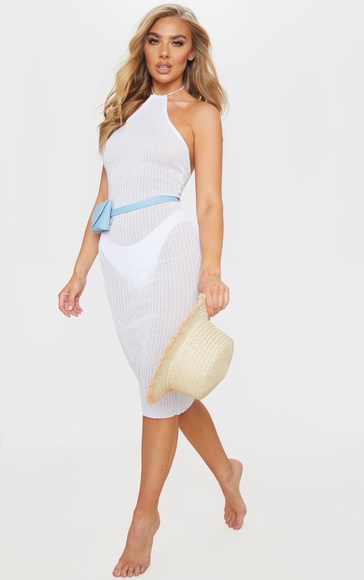 Robe mi-longue en maille fine blanche à dos nu 1