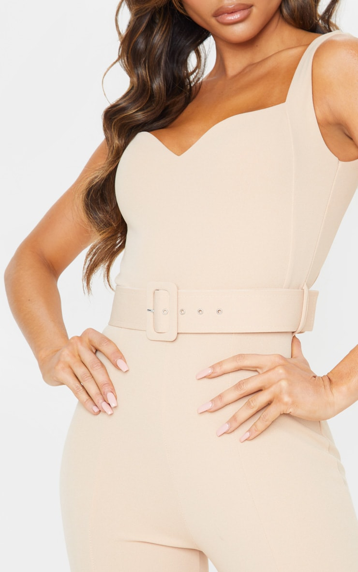 Stone Belt Detail Sweetheart Neckline Jumpsuit 5