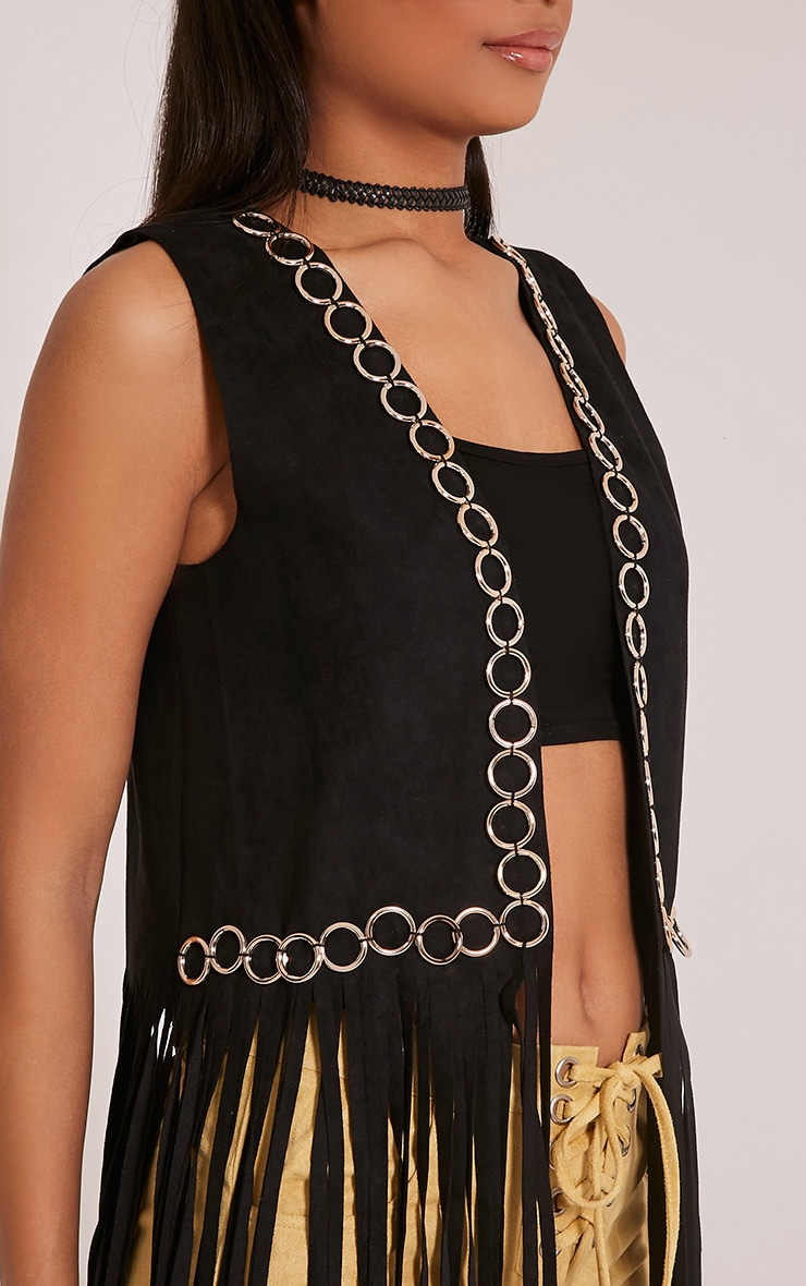 Bili Black Faux Suede Ring Detail Fringed Waistcoat 6