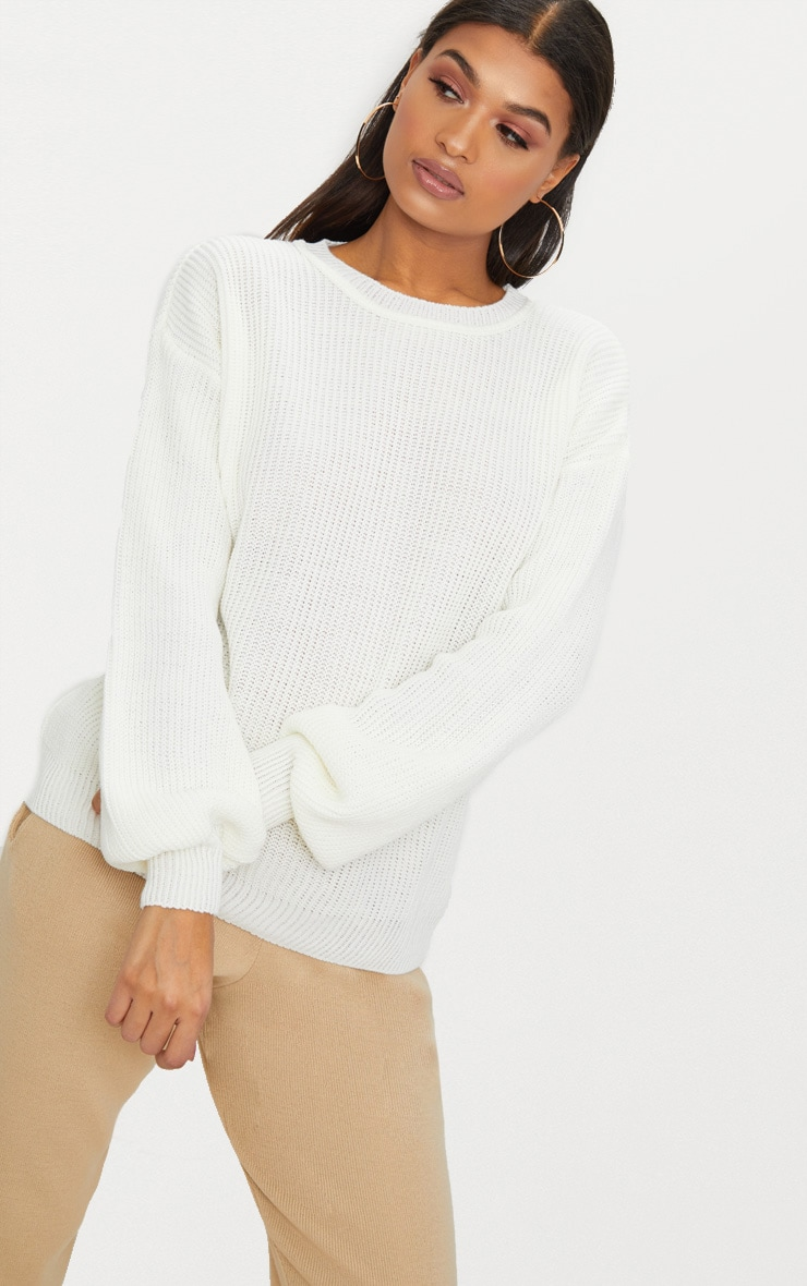 Cream Oversized Balloon Sleeve Jumper 2