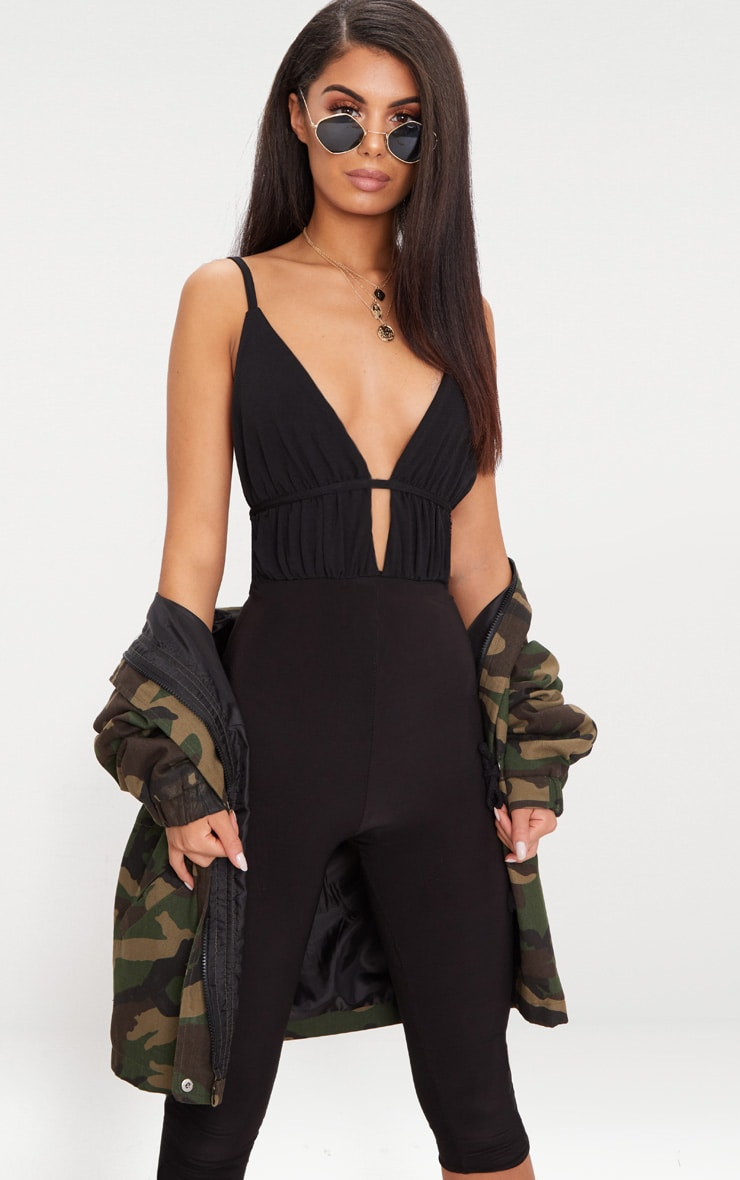 Black Ruched Strappy Detail Thong Bodysuit  2