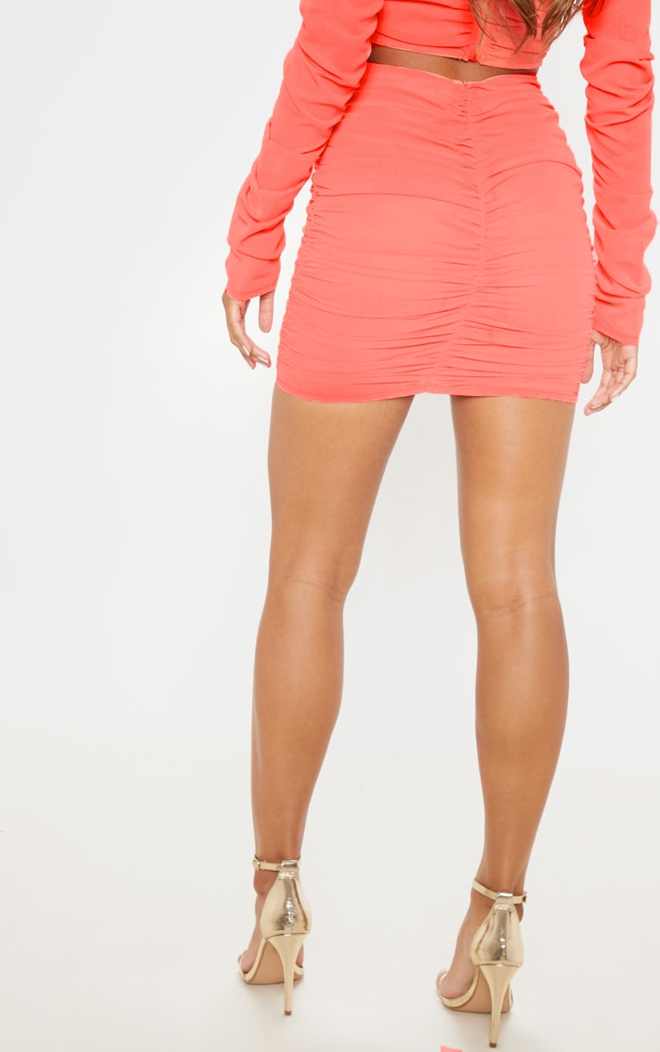 Coral Mesh Lace Up Detail Mini Skirt 4