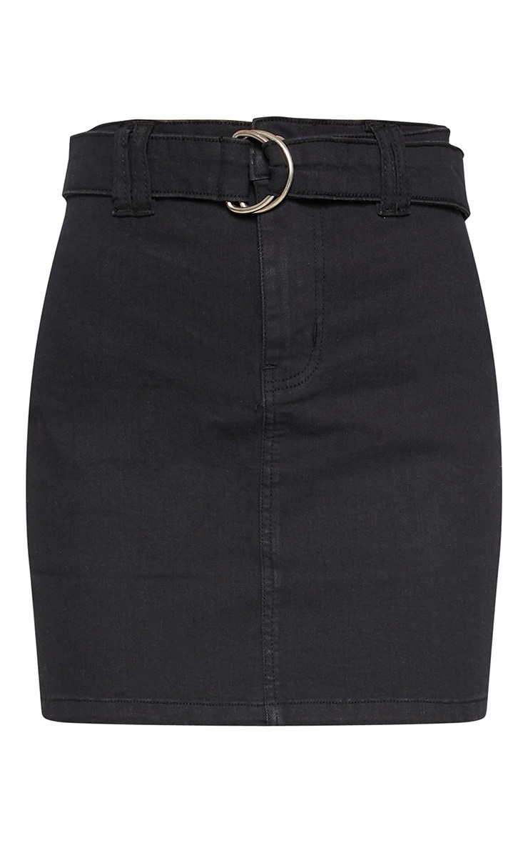 Black O-Ring Belt Detail Denim Mini Skirt  3