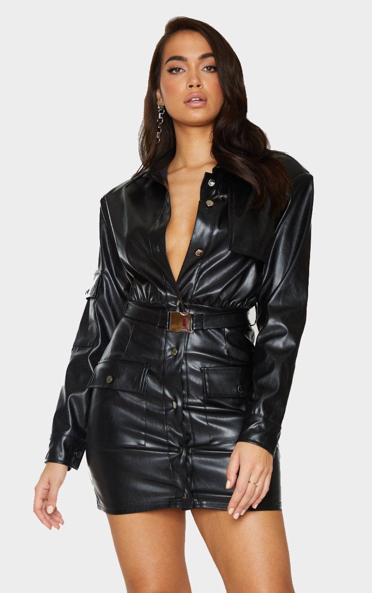Black Faux Leather Multi Pocket Detail Utility Shirt Dress 1