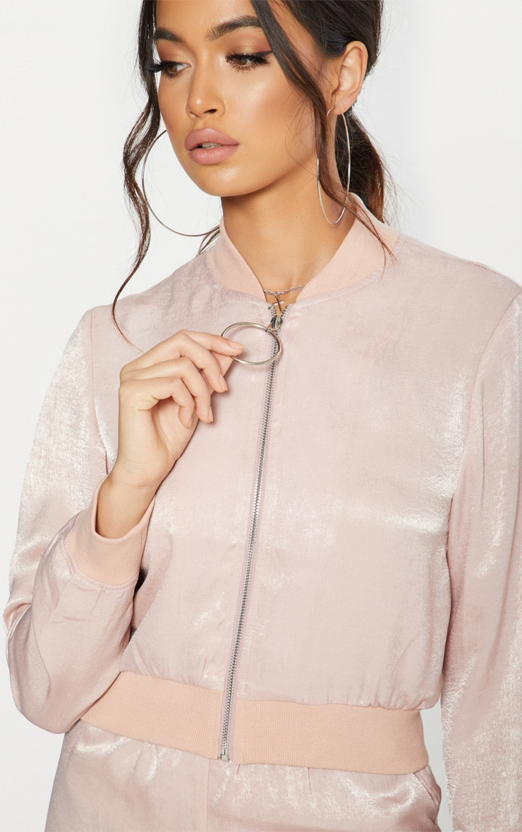Nude  Ring Pull Satin Bomber Jacket  5