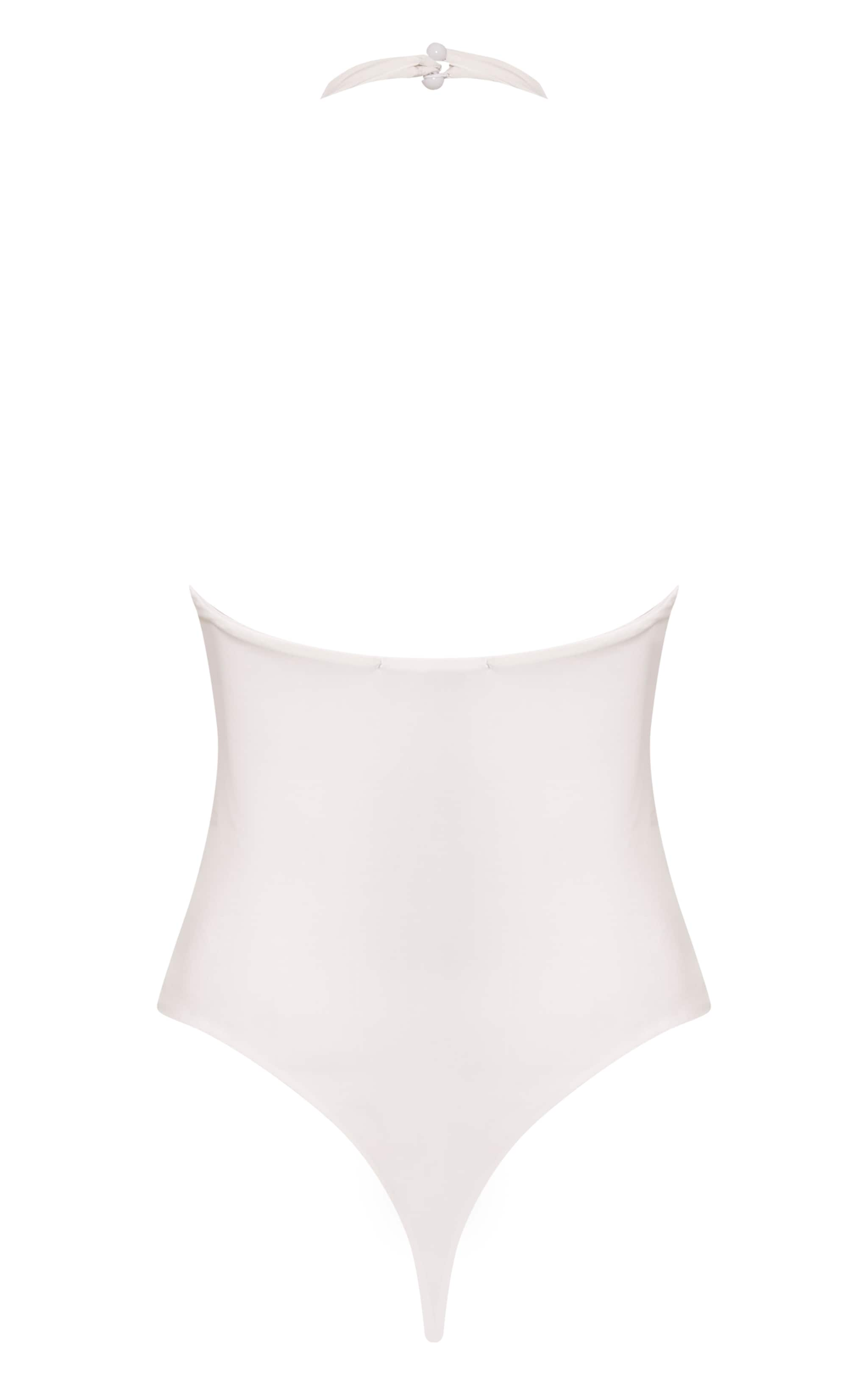 Riley Cream Slinky Halterneck Bodysuit 4