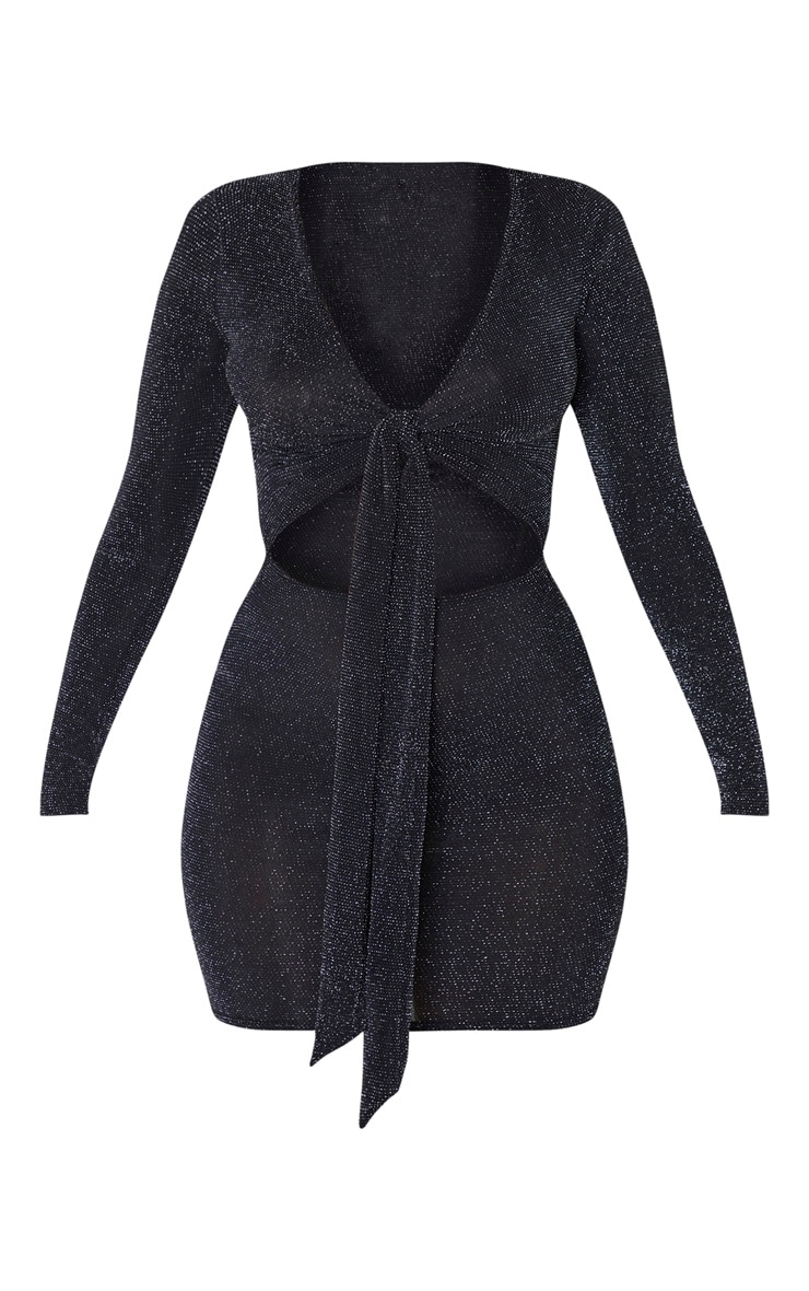 Black Glitter Tie Front Cut Out Long Sleeve Bodycon Dress 3