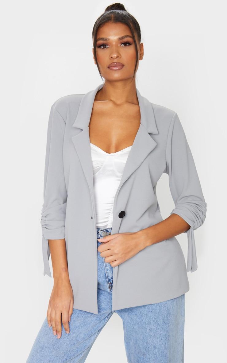 Grey Ruched Sleeve Blazer 1