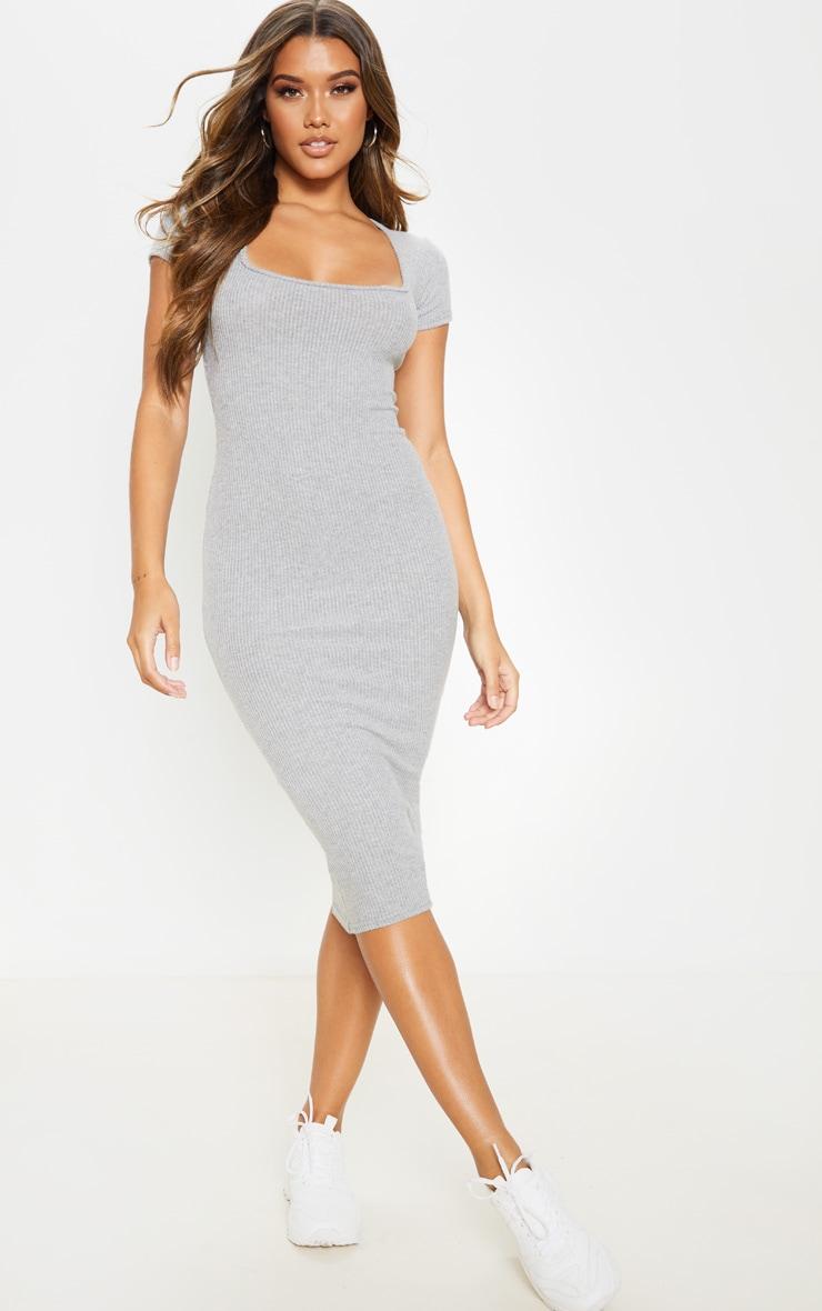 Grey Brushed Rib Square Neck Midi Dress 1