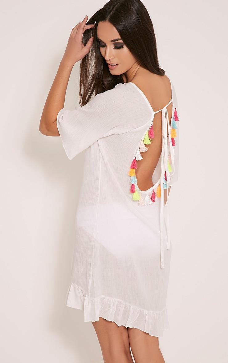 Chessy White Tassel Back Sheer Beach Dress 1
