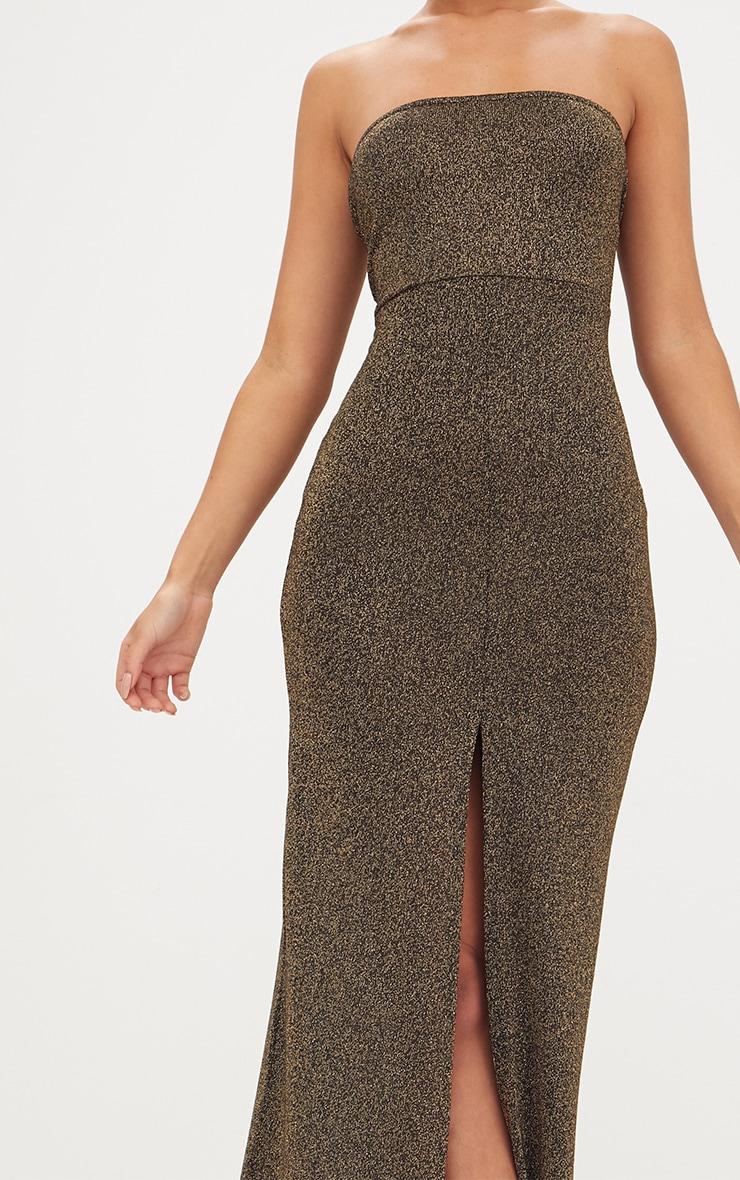 Gold Glitter Lurex Bandeau Maxi Dress 4