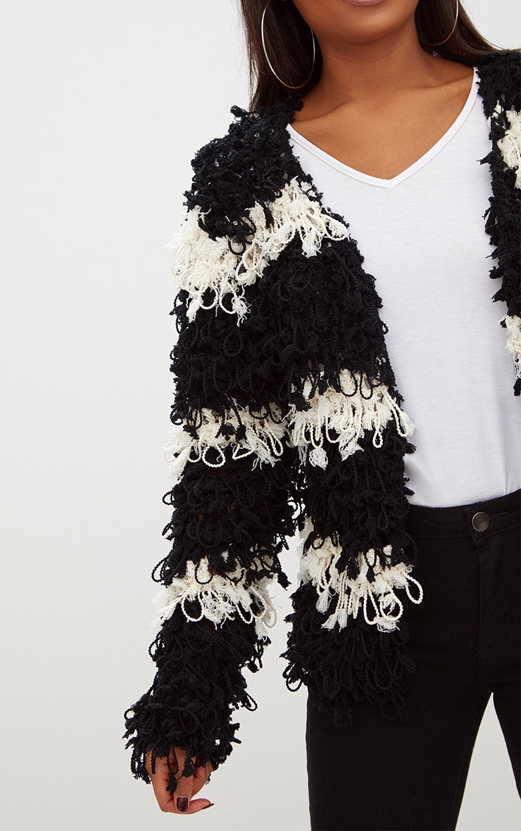 Black Loopy Knit Stripe Cardigan 5