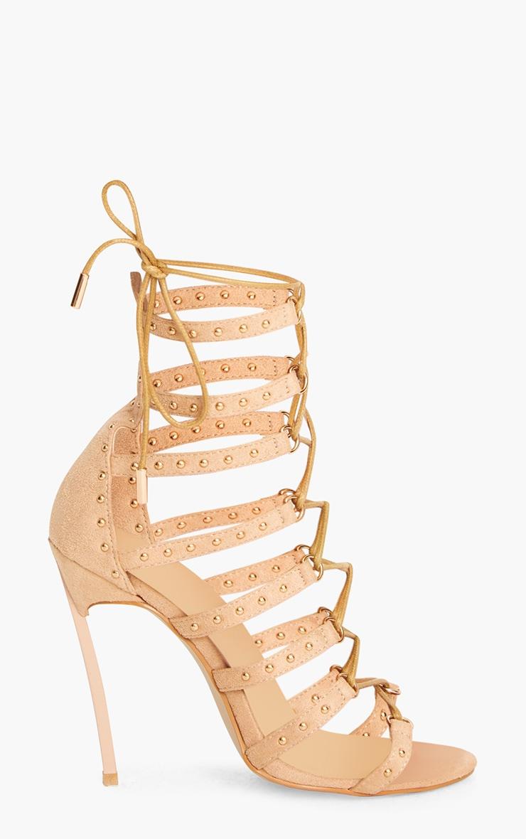 Josiane Nude Studded Lace Up Stiletto Heels 3