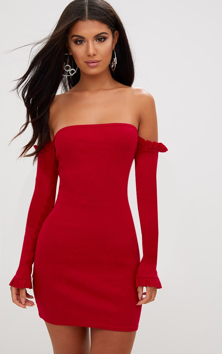 Red Ribbed Frill Bardot Bodycon Dress 1