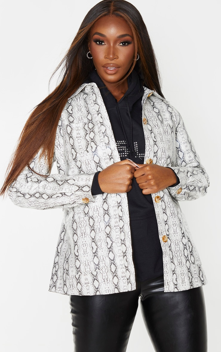 Grey Snake Print PU Belted Oversized Jacket 2