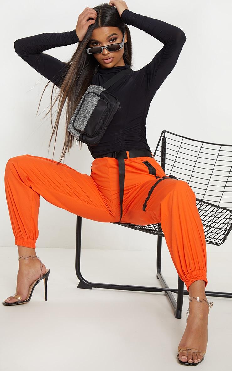 Black Slinky High Neck Ruched Bodysuit 5