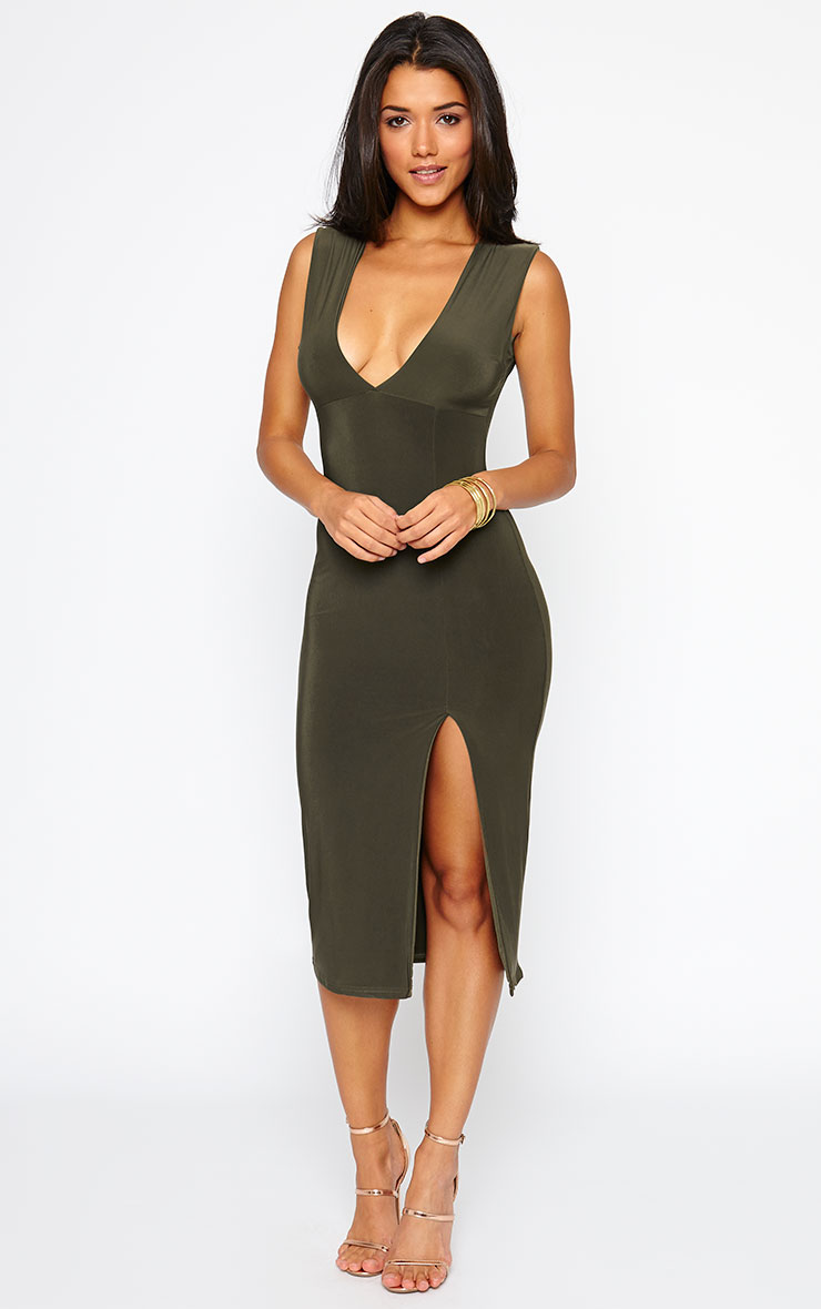 Christa Khaki Sleeveless Plunge Split Front Dress 1