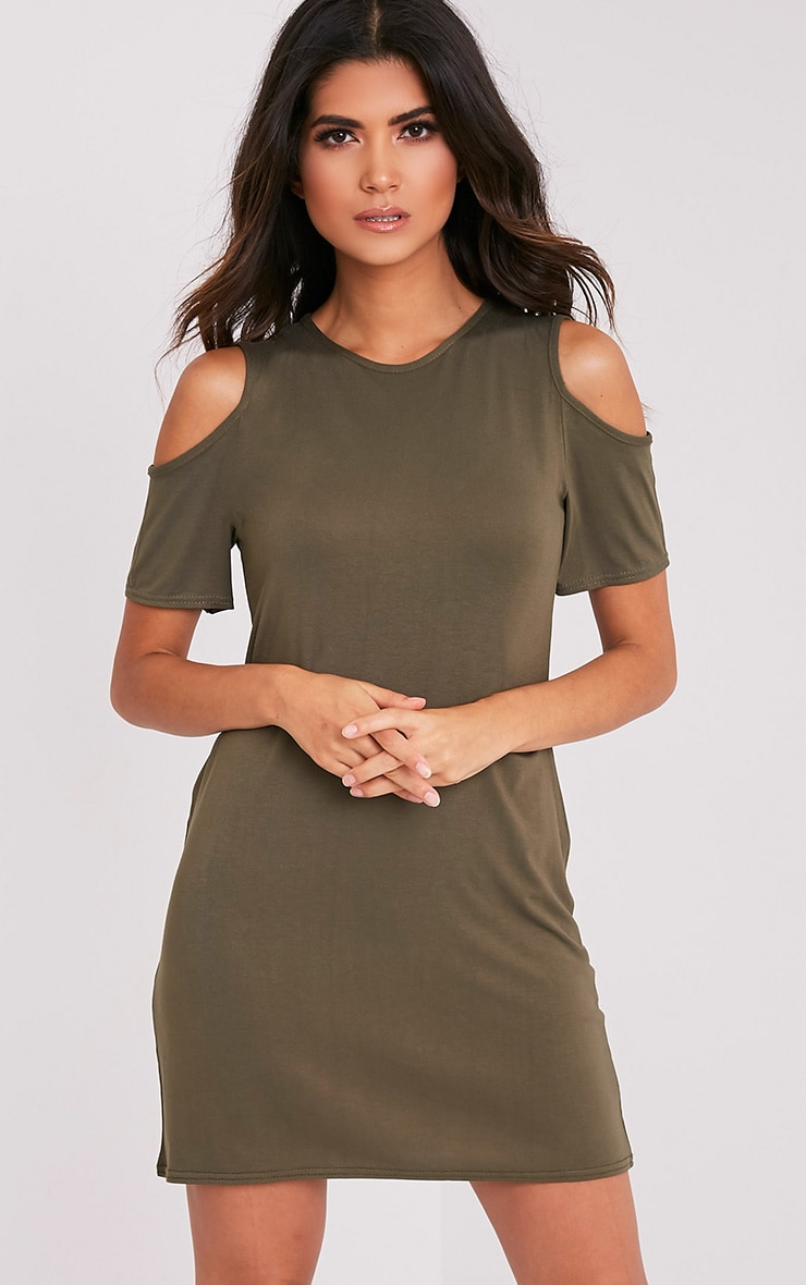 Neeka Khaki Cold Shoulder T-Shirt Dress 1