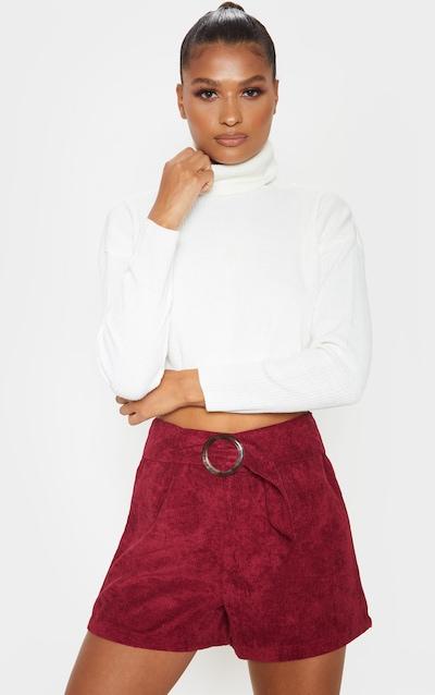 Burgundy Cord Belted Short