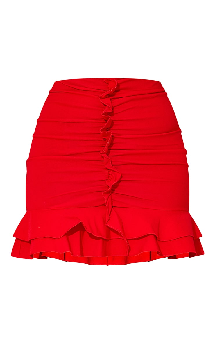 Red Woven Stretch Frill Ruched Front Mini Skirt 6