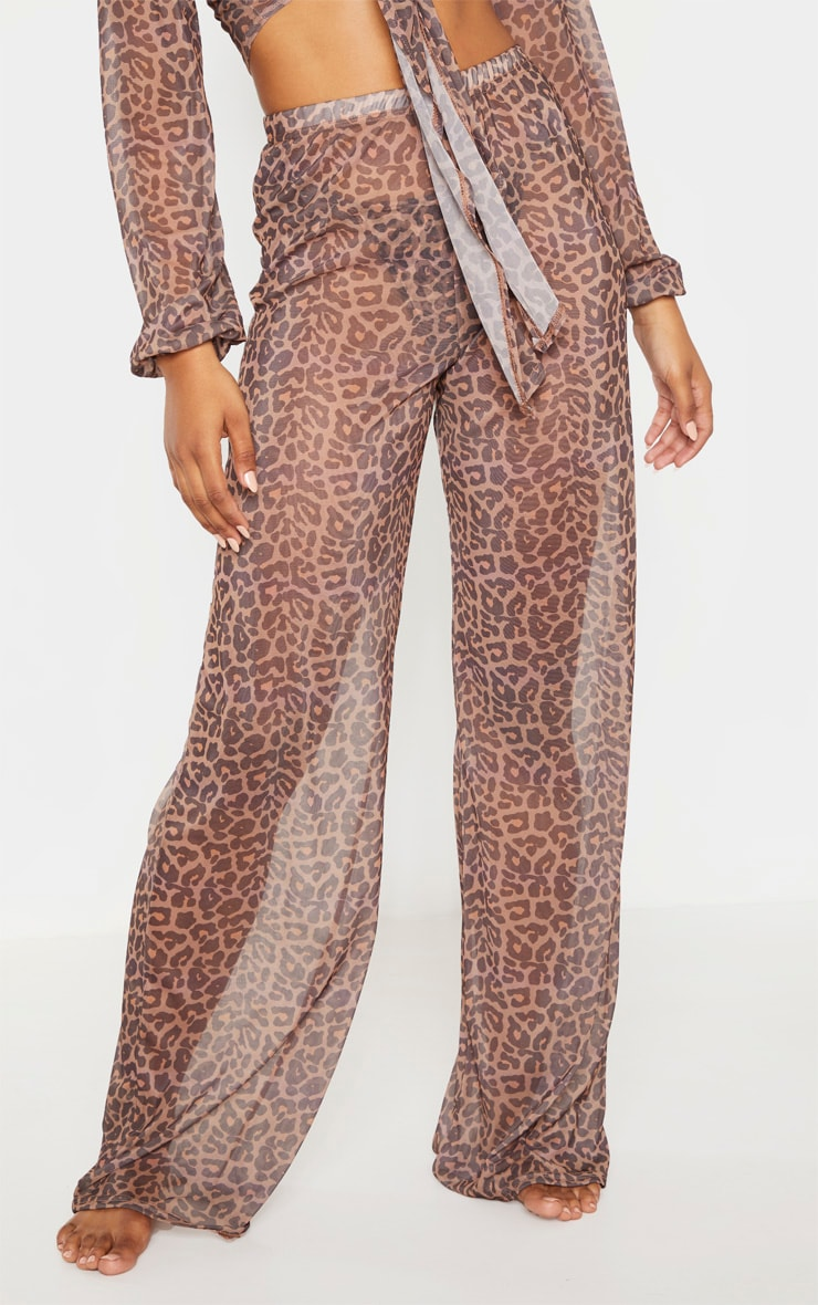 Tall Brown Leopard Print Sheer Trousers 2