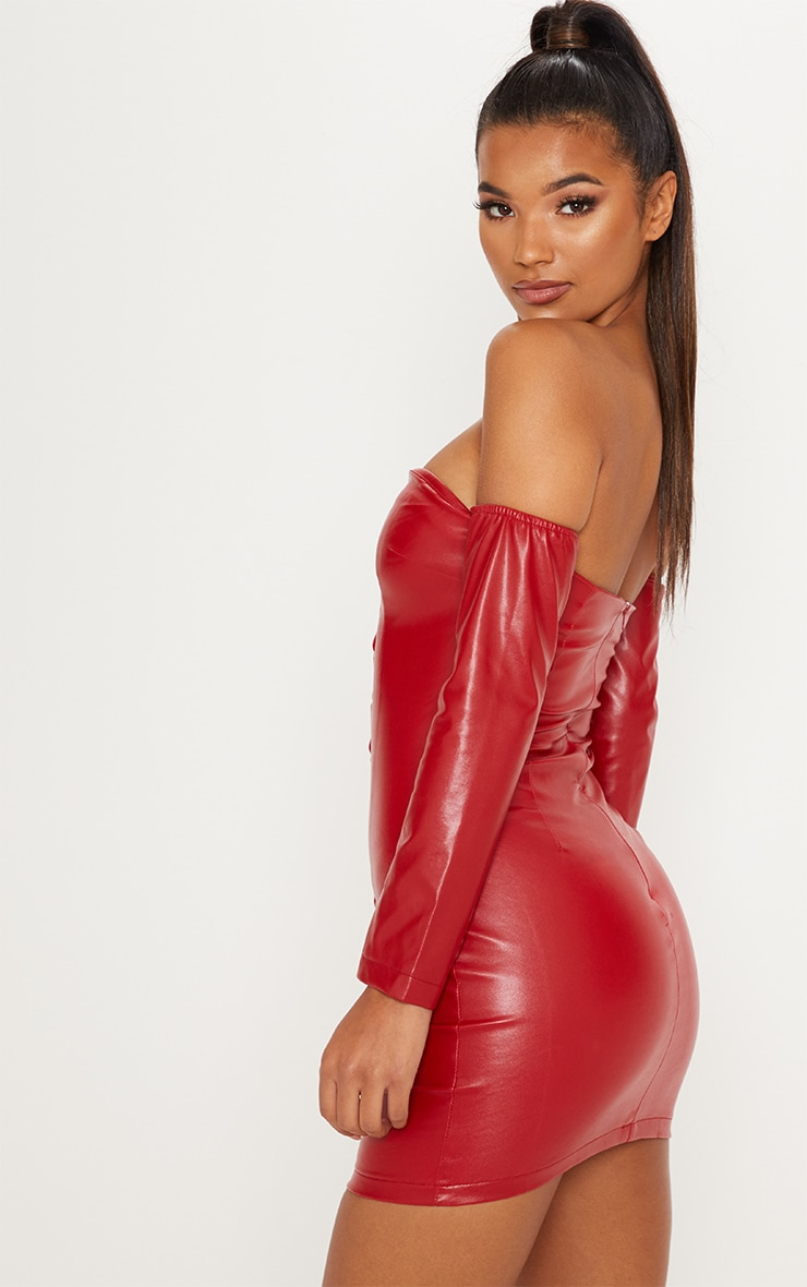 Red Faux Leather Bardot Lace Up Bodycon Dress 2