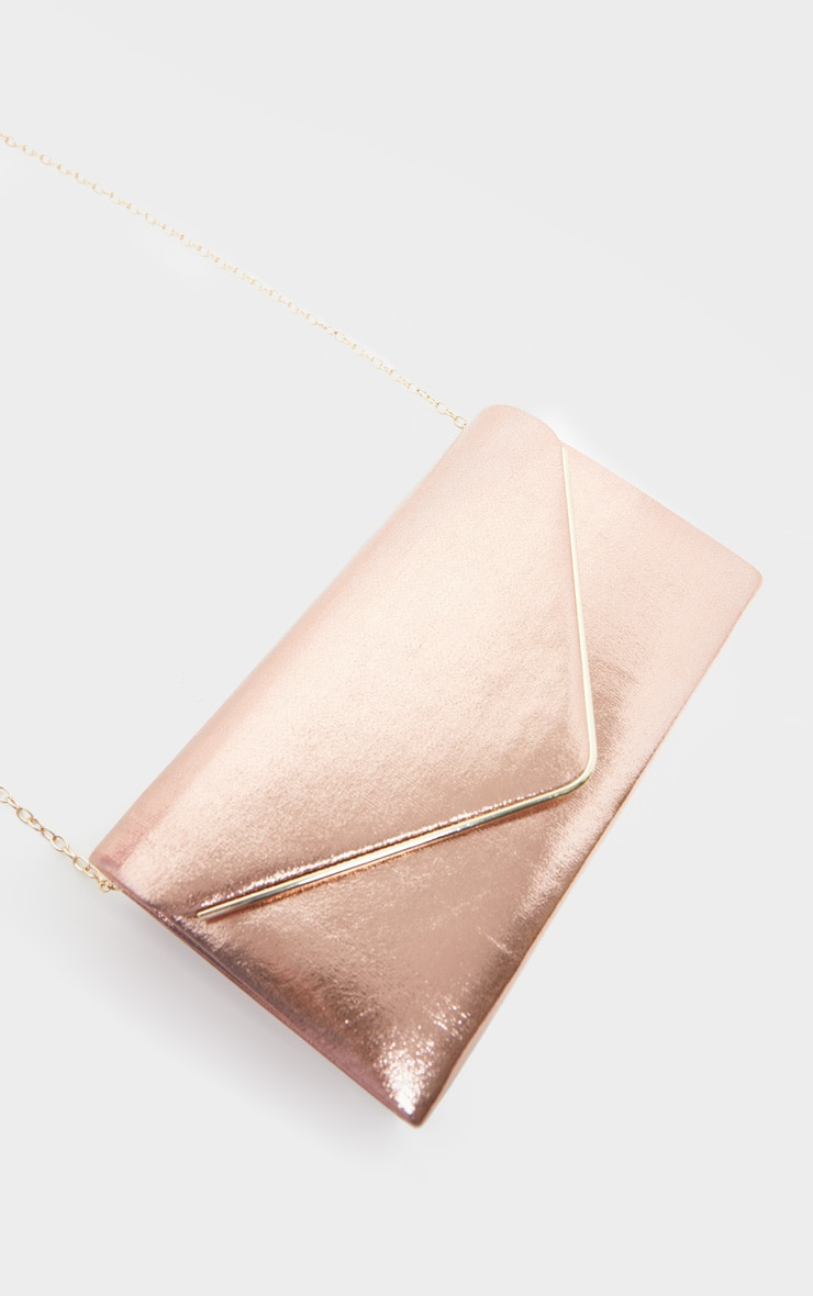 Rose Gold Metallic Boxy Envelope Clutch Bag 3