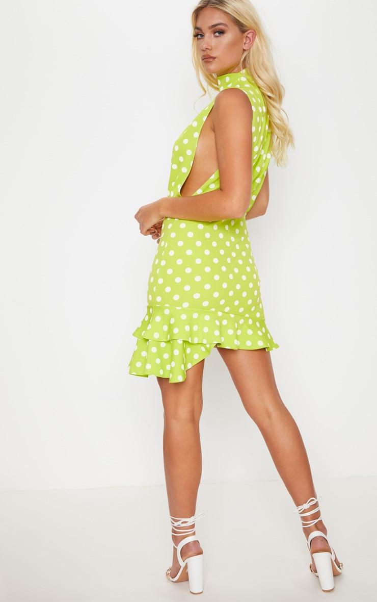 Lime Polka Dot High Neck Frill Hem Bodycon Dress