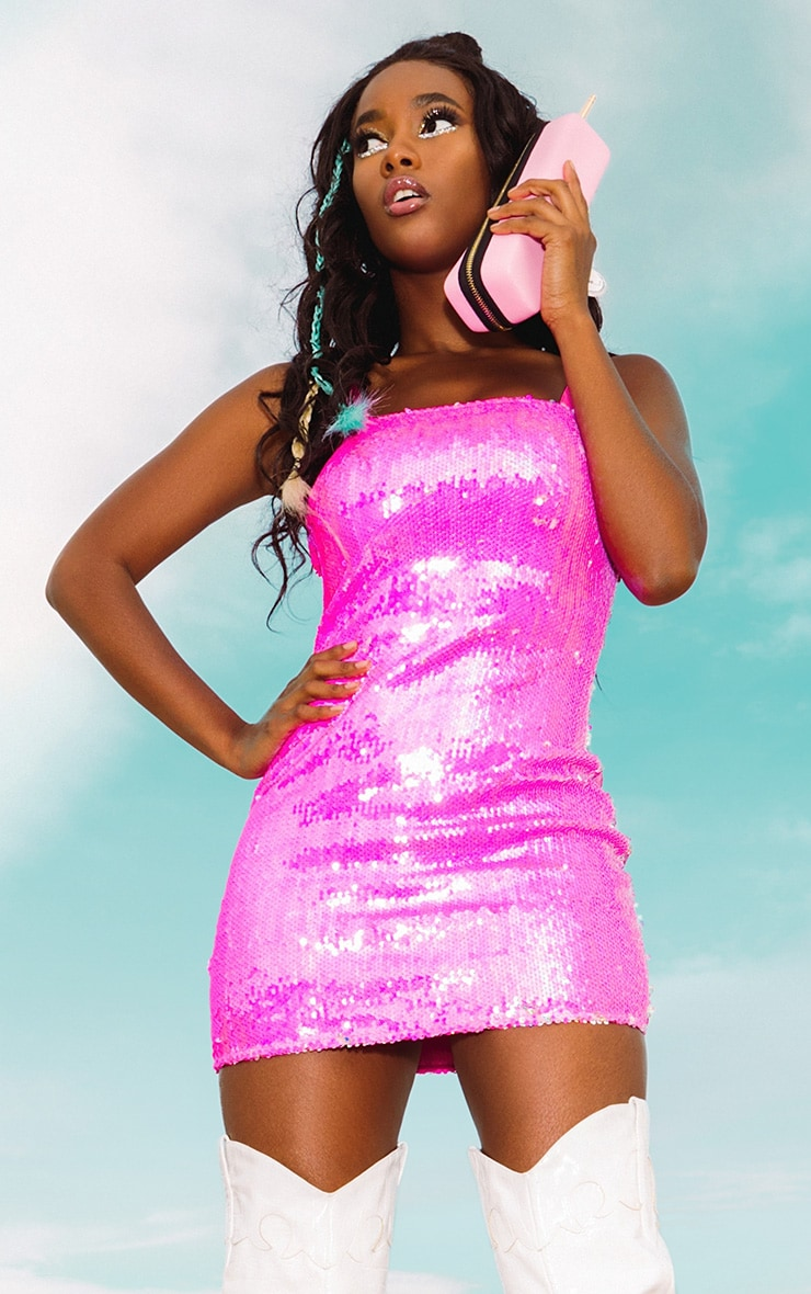 Baby Pink Sequin Strappy Bodycon Dress 1