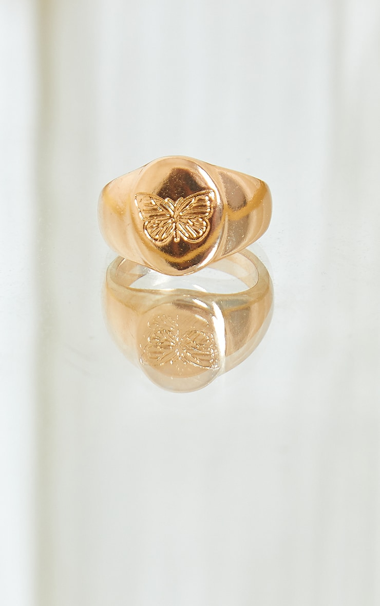 Gold Embroidered Butterfly Ring 1