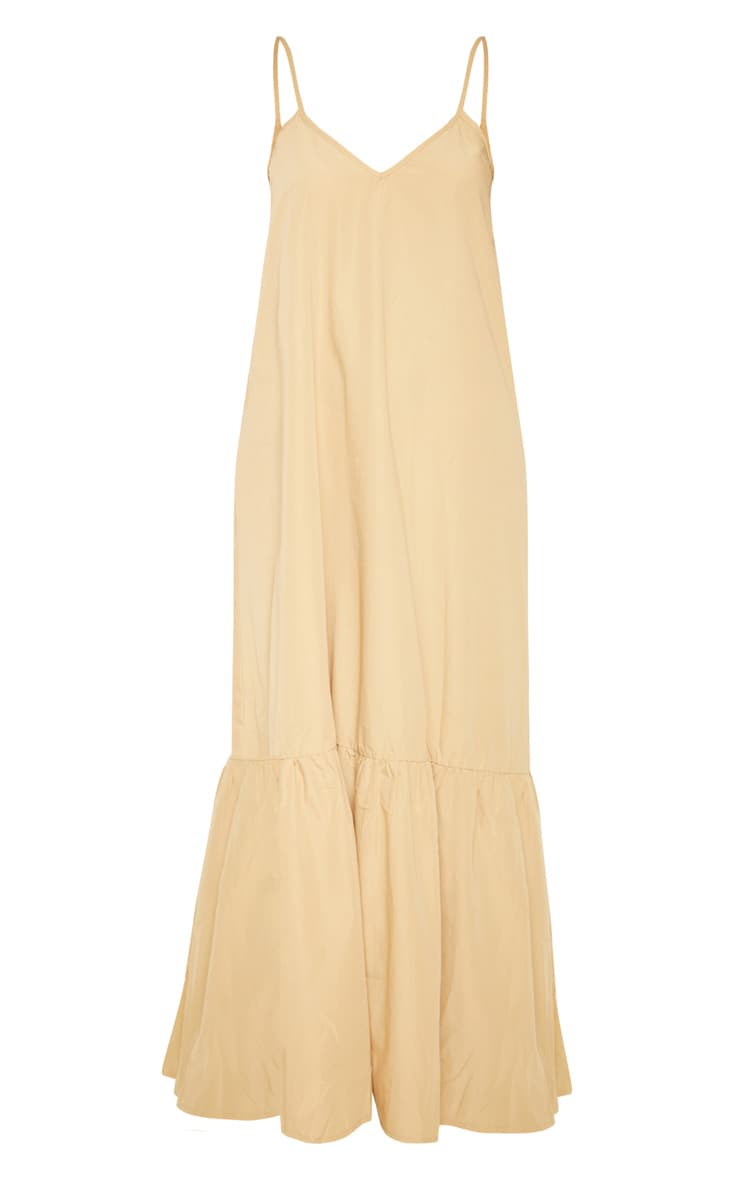 Camel Low Back Ruffle Hem Maxi Dress 3