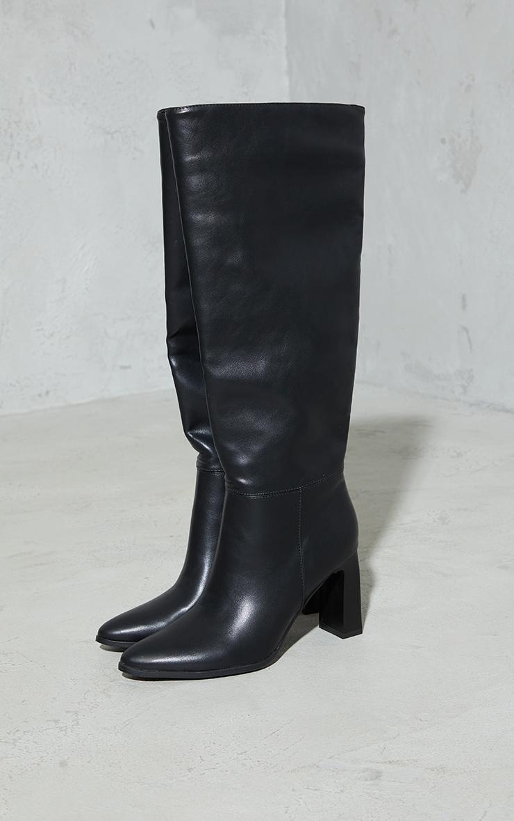 Black Block High Heel Knee Boots 3