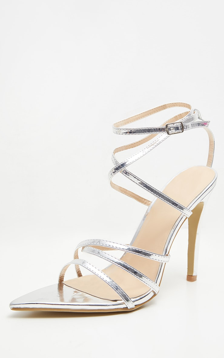 Silver Point Toe Strappy Sandals 3