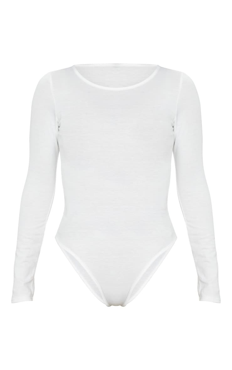 Cream Long Sleeve Jersey Bodysuit 5