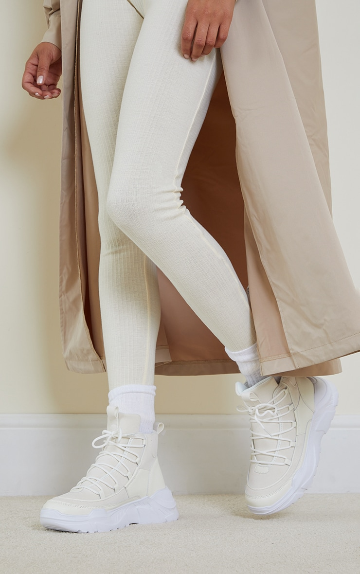 Cream Lace Up Chunky Sock Sneakers 2
