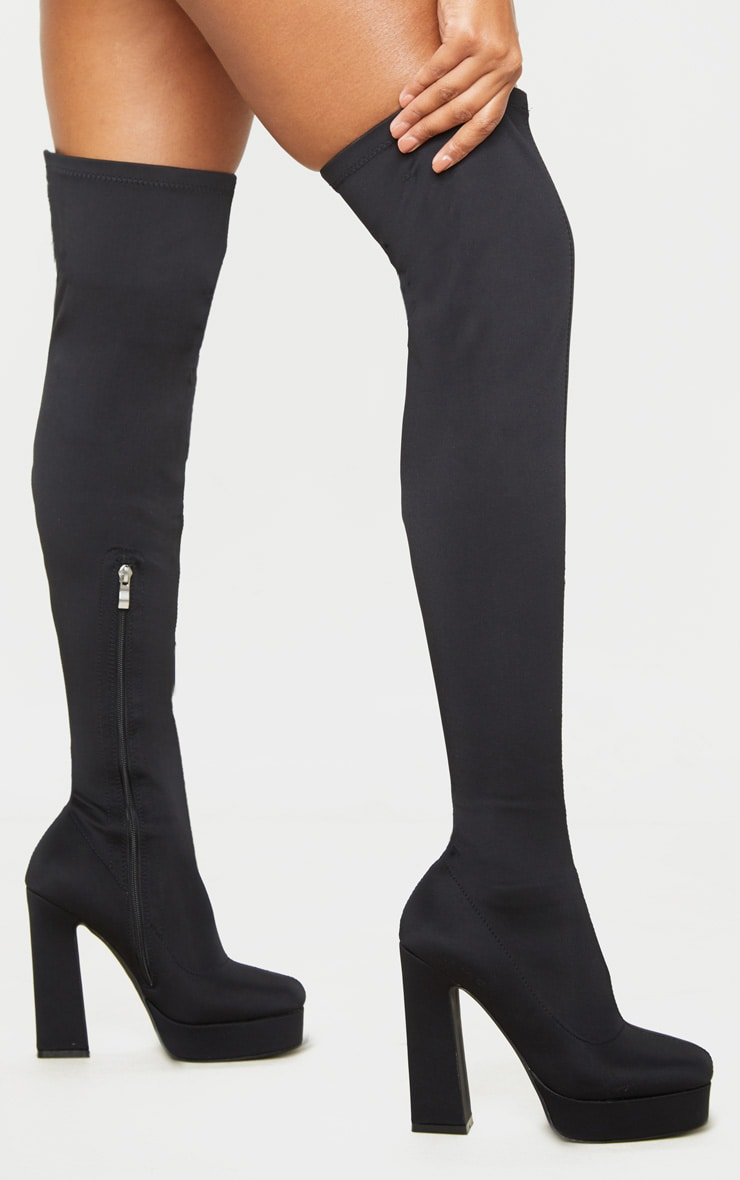 Black Thigh High Platform Boot 1