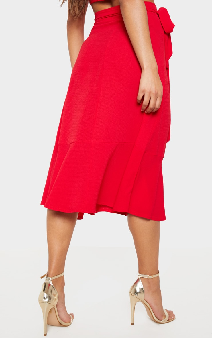 Red Frill Hem Wrap Midi Skirt 4
